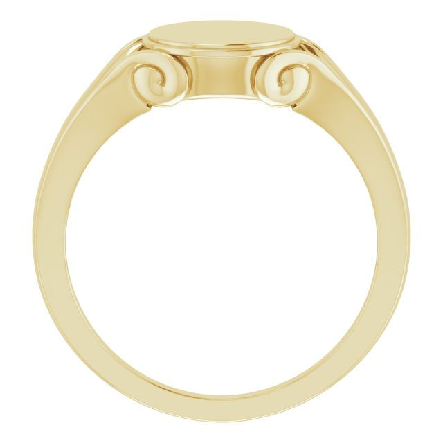 14K Yellow 12x10 mm Oval Signet Ring