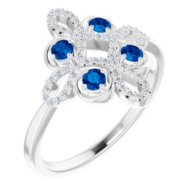 14K White Chatham® Created Blue Sapphire & 1/6 CTW Diamond Clover Ring