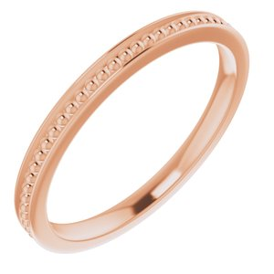 14K Rose Stackable Bead Ring Size 7