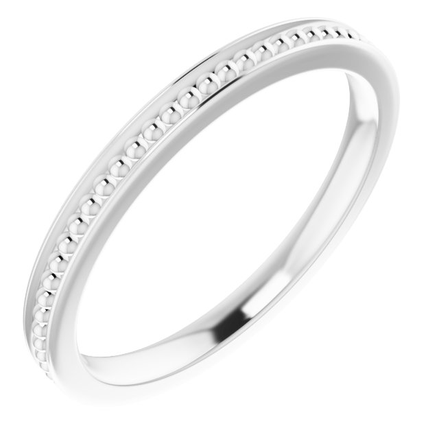 14K White Stackable Bead Ring Size 6
