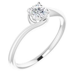 Bypass-Style Solitaire Engagement Ring alebo BandBypass - Premostený Štýl - Zásnubný Prsteň Solitér alebo Obrlúčka