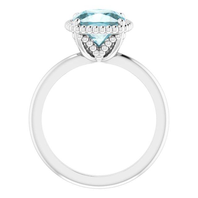 14K White Sky Blue Topaz Ring