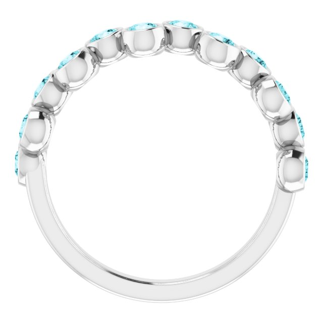 14K White Blue Zircon Bezel-Set Ring