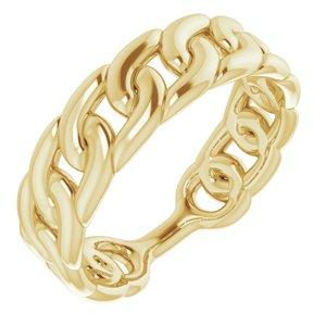 14K Yellow Stackable Chain Link Ring
