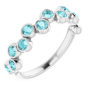 14K White Blue Zircon Bezel-Set Ring