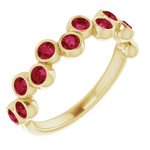 14K Yellow Chatham® Created Ruby Bezel-Set Ring