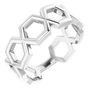 14K White Geometric Ring