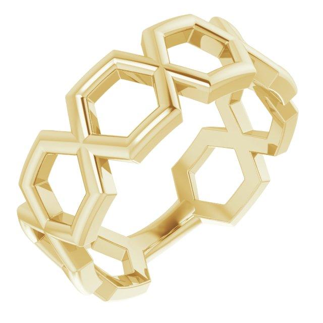 14K Yellow Geometric Ring