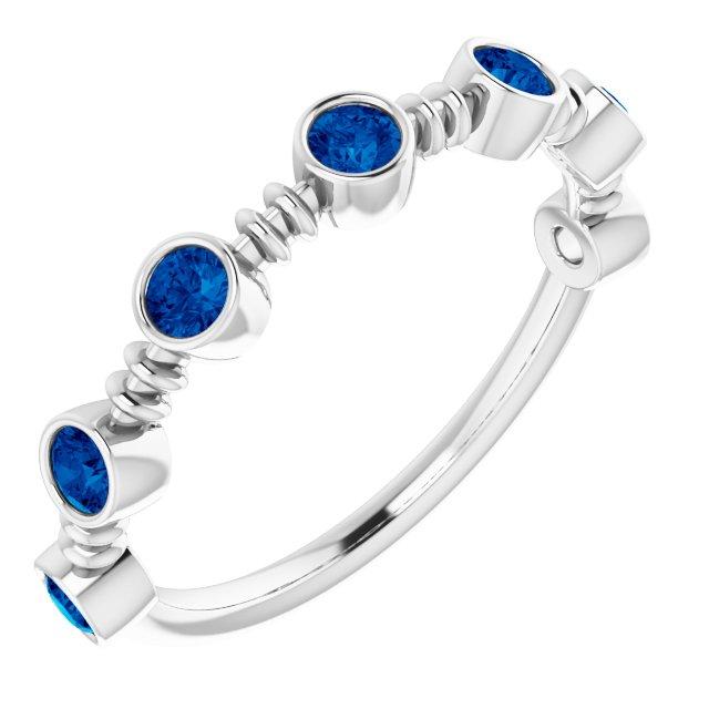 14K White Lab-Grown Blue Sapphire Bezel-Set Ring
