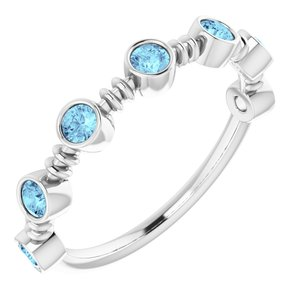 14K White Aquamarine Bezel-Set Ring