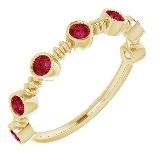 14K Yellow Lab-Grown Ruby Bezel-Set Ring