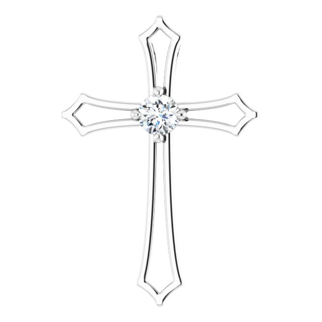 14K White 3 mm Round 1/10 CTW Diamond Pendant