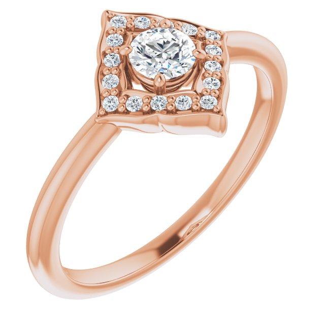 14K Rose 1/3 CTW Diamond Halo-Style Clover Ring