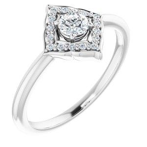 14K White 1/3 CTW Diamond Halo-Style Clover Ring