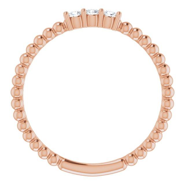 14K Rose 1/10 CTW Diamond Beaded Ring