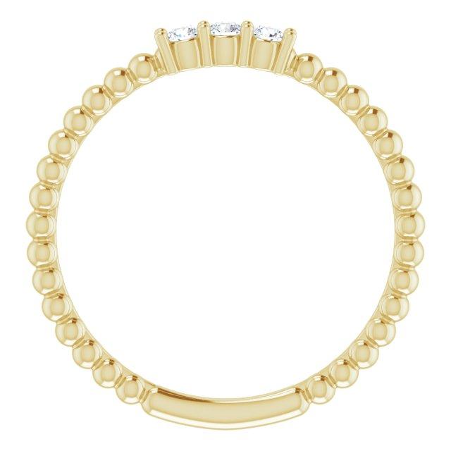 14K Yellow 1/10 CTW Diamond Beaded Ring