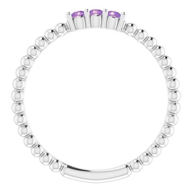 14K White Amethyst Beaded Ring