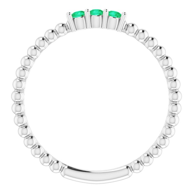 14K White Chatham®Lab-Created Emerald Beaded Ring
