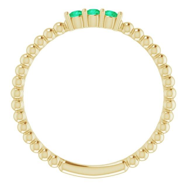 14K Yellow Lab-Grown Emerald Beaded Ring