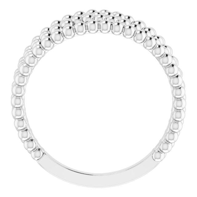 14K White Beaded Criss-Cross Ring