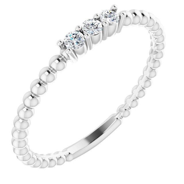 14K White 1/10 CTW Diamond Beaded Ring
