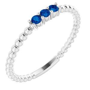 14K White Blue Sapphire Beaded Ring