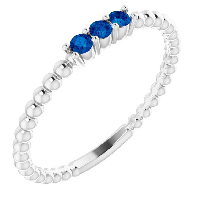 14K White Lab-Grown Blue Sapphire Beaded Ring