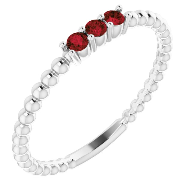 Sterling Silver Mozambique Garnet Beaded Ring