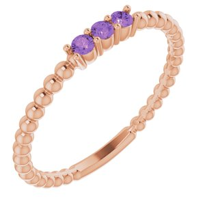 14K Rose Amethyst Beaded Ring