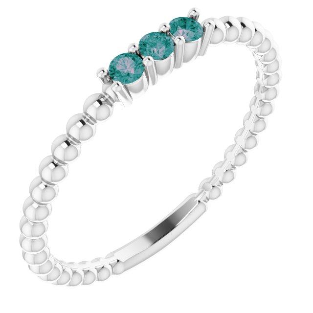 14K White Lab-Grown Alexandrite Beaded Ring