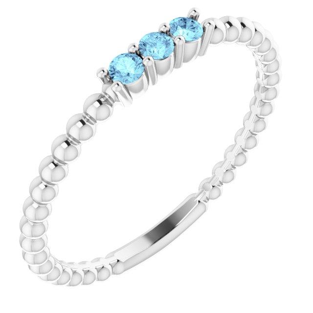 14K White Aquamarine Beaded Ring