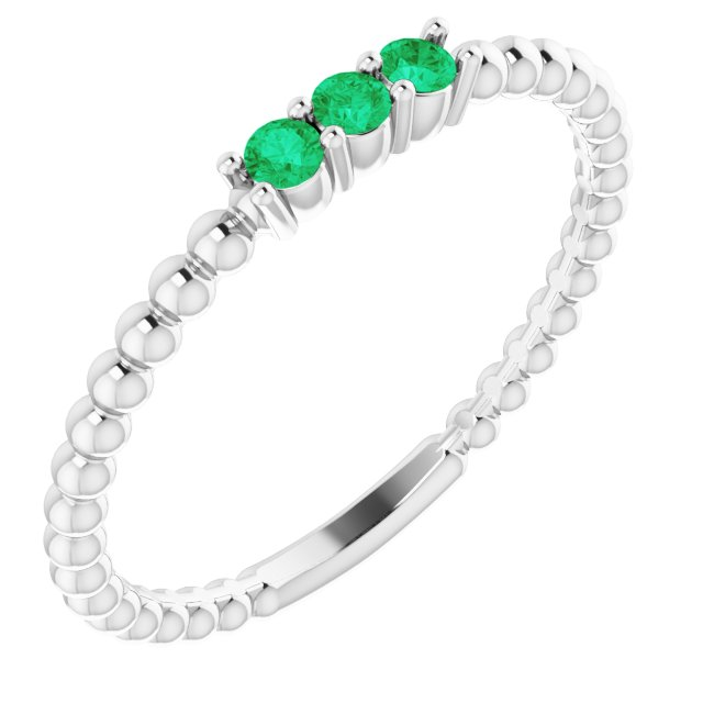 14K White Lab-Grown Emerald Beaded Ring