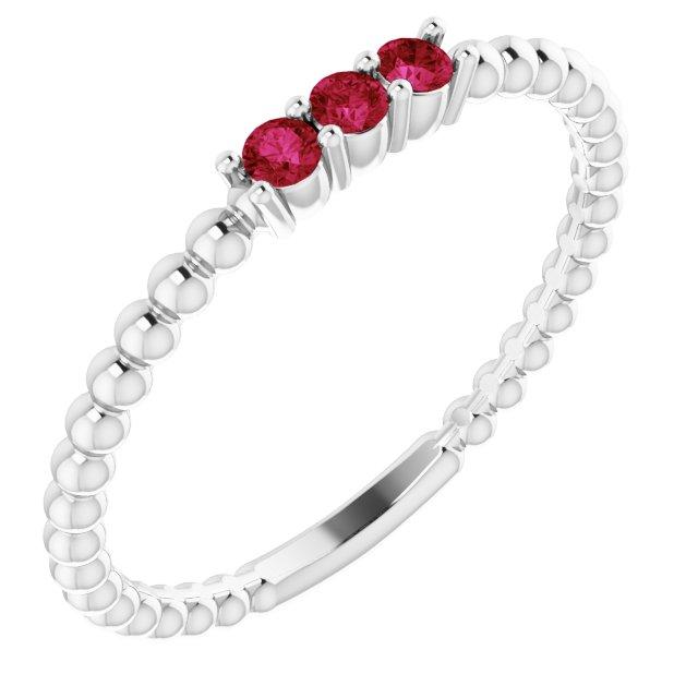 14K White Lab-Grown Ruby Beaded Ring