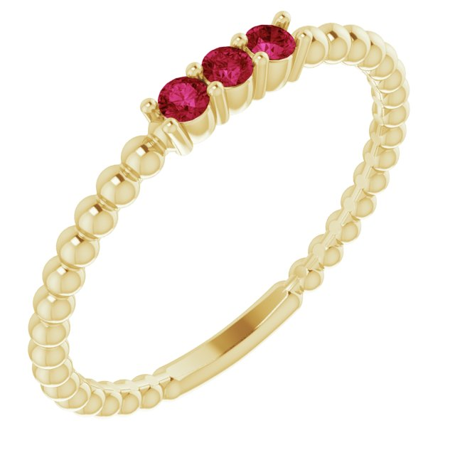14K Yellow Chatham®Lab-Created Ruby Beaded Ring