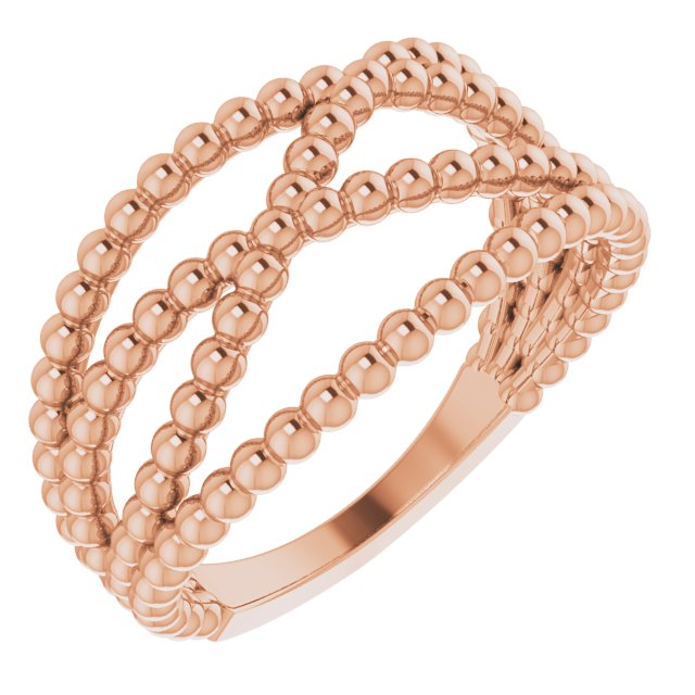 14K Rose Beaded Criss-Cross Ring