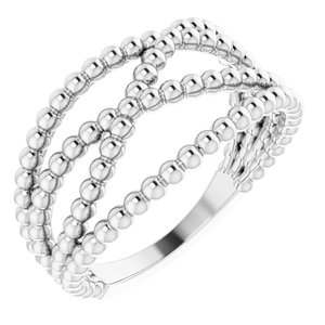 14K White Beaded Criss-Cross Ring