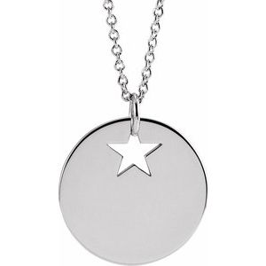 "14K White Pierced Star 15 mm Disc 16-18"" Necklace"
