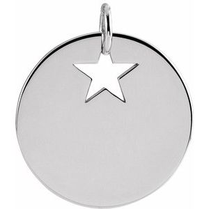 14K White Pierced Star 15 mm Disc Pendant