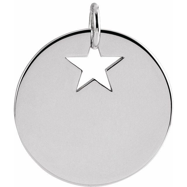 14K White Pierced Star 15 mm Disc Pendant