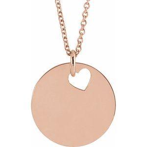 "14K Rose Pierced Heart 15 mm Disc 16-18"" Necklace"
