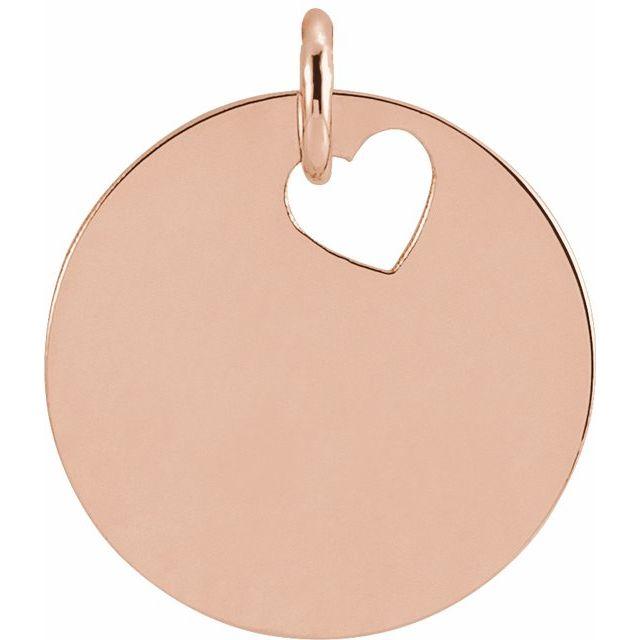 14K Rose Pierced Heart 15 mm Disc Pendant