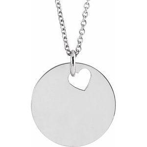 "Sterling Silver Pierced Heart 15 mm Disc 16-18"" Necklace"