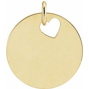 14K Yellow Pierced Heart 15 mm Disc Pendant