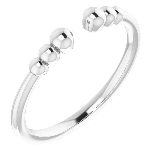14K White Beaded Ring