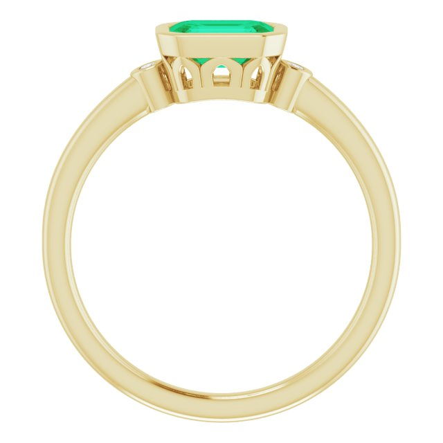 14K Yellow Lab-Grown Emerald & .02 CTW Diamond Ring