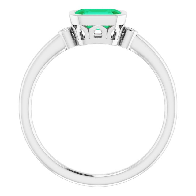 14K White Lab-Grown Emerald & .02 CTW Diamond Ring