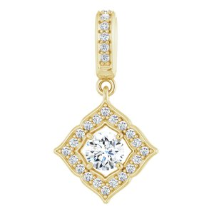 14K Yellow 1/3 CTW Diamond Halo-Style Clover Pendant
