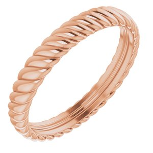 14K Rose 3.5 mm Rope Band Size 10.5