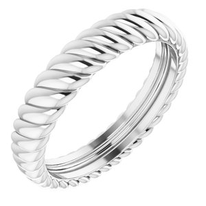 14K White 3.5 mm Rope Band Size 4.5