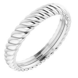 14K White 3.5 mm Rope Band Size 7